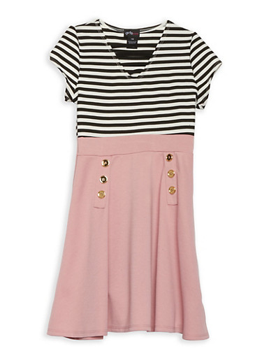 Girls 7-16 Striped Skater Dress,MAUVE,large
