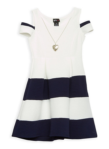 Girls 7-16 Color Block Skater Dress with Necklace,NAVY/IVY,large