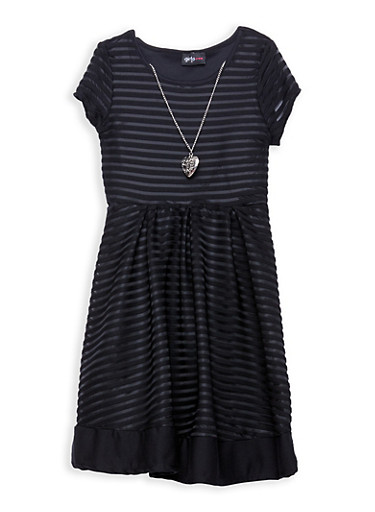 Girls 7-16 Striped Mesh Skater Dress with Necklace,BLACK,large