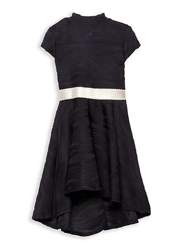 Girls 7-16 Textured Knit Skater Dress,BLACK,large