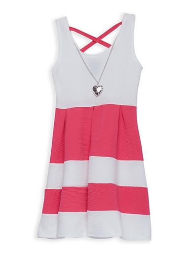 Girls 7-16 Textured Knit Stripe Skater Dress,BPINK/IVY,large