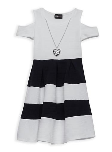 Girls 7-16 Striped Skater Dress with Necklace,BLK/IVY,large