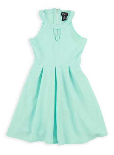 Girls 6x-16 Textured Knit Skater Dress,AQUA,large