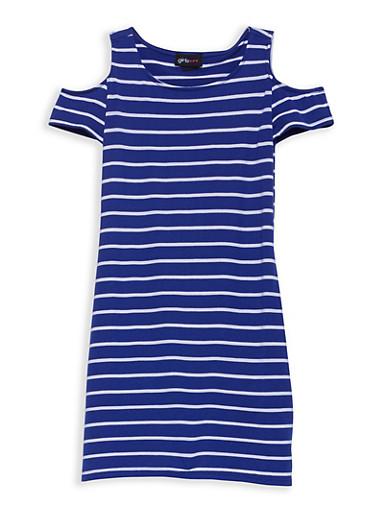 Girls 7-16 Striped Cold Shoulder Dress,WHT/ROYAL,large