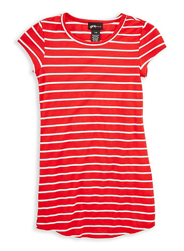 Girls 7-16 Striped T Shirt Dress,WHITE/RED,large