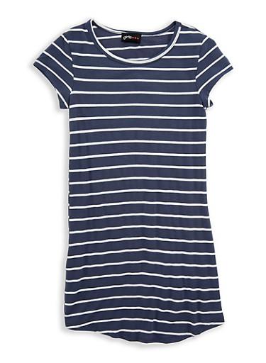 Girls 7-16 Striped T Shirt Dress,DNM BLUE/WHT,large