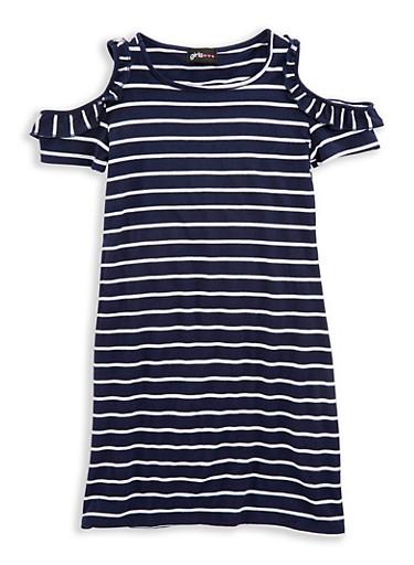 Girls 7-16 Striped Cold Shoulder Dress,NAVY/WHT,large