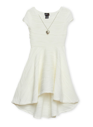 Girls 7-16 Skater Dress with Necklace,IVORY,large