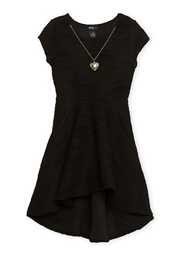 Girls 7-16 Skater Dress with Necklace,BLACK,large