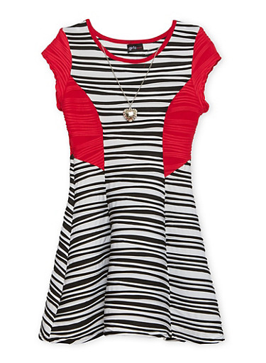Girls 7-16 Striped Skater Dress with Necklace,BLK/WHT/RED,large