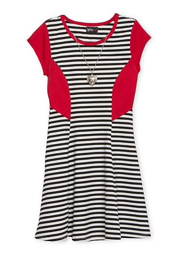 Girls 7-16 Striped Skater Dress with Heart Necklace,BLACK,large