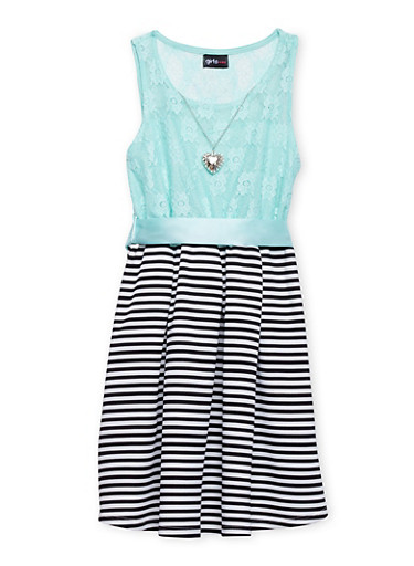 Girls 7-16 Lace Dress with Striped Skirt and Heart Necklace,AQUA,large