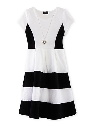 Girls 7-16 Color Block Skater Dress with Pleated Skirt and Necklace,BLACK,large