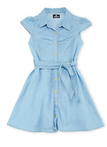 Girls 7-16 Belted Denim Dress with Flared Skirt,WASH,large