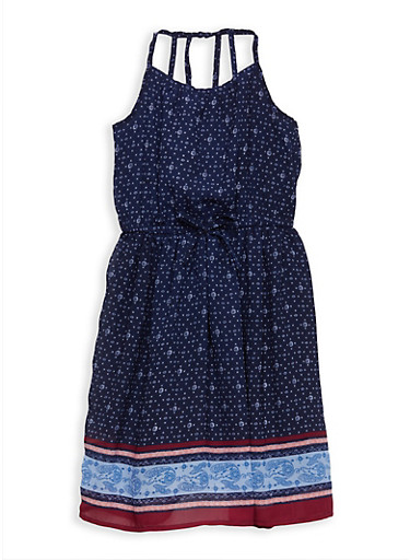 Girls 7-16 Border Print Dress,NAVY,large