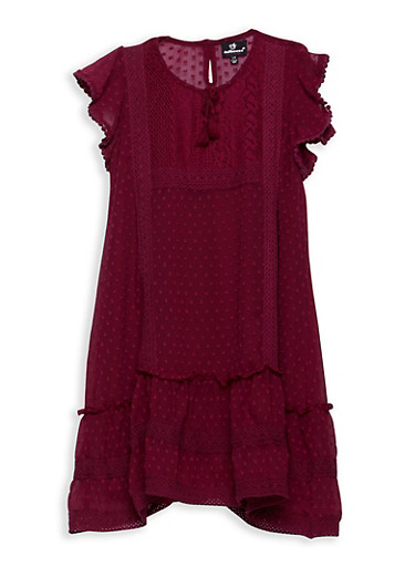 Girls 7-16 Swiss Dot Dress with Crochet Inserts,WINE,large