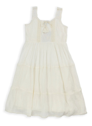 Girls 7-16 Tiered Gauze Knit Tank Dress,IVORY,large