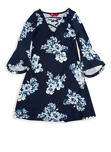 Girls 7-16 Navy Floral Shift Dress,NAVY,large