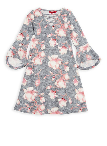 Girls 7-16 Floral Bell Sleeve Shift Dress,GREY,large