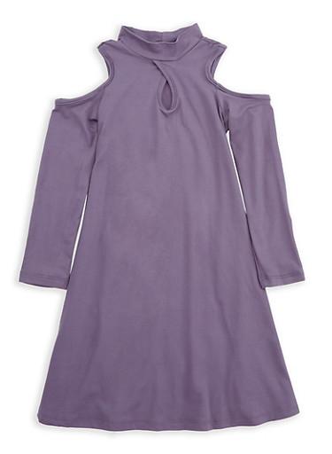 Girls 7-16 Purple Cold Shoulder Dress,PURPLE,large