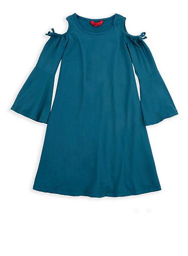 Girls 7-16 Teal Cold Shoulder Soft Knit Dress,TEAL,large