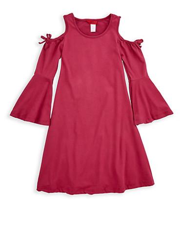 Girls 7-16 Cold Shoulder Bell Sleeve Dress,GRAPE,large