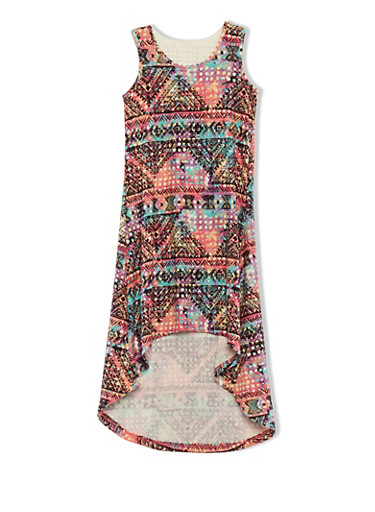 Printed 7-16 High-Low Dress with Crochet Back and Ikat Print at Front,,large