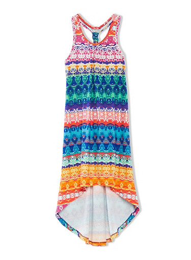 Girls 7-16 High-Low Dress with Ruched T Strap and Aztec Print Throughout,MULTI COLOR,large