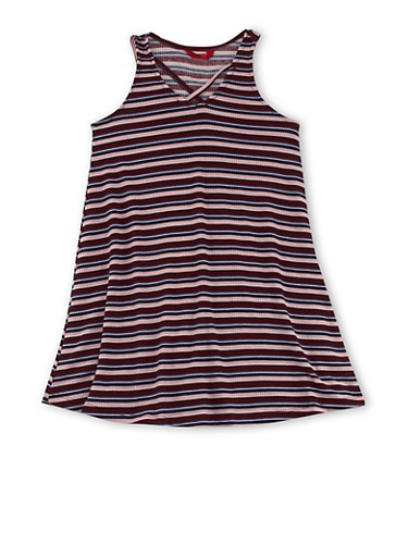 Girls 7-16 Sleeveless Striped Dress with Caged Neckline Detail,MULTI COLOR,large