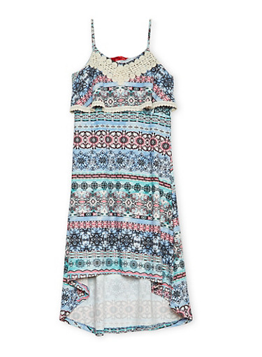 Girls 7-16 Printed Cami Dress with Crochet Trim,TURQUOISE,large