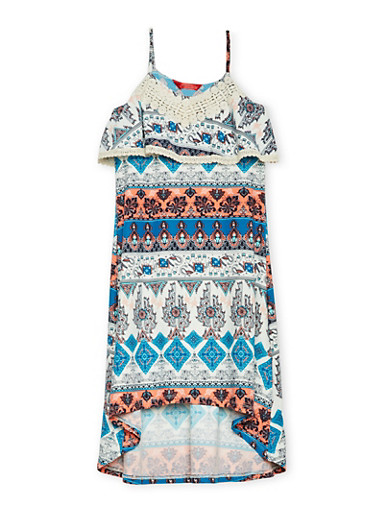 Girls 7-16 Printed Cami Dress with High Low Hem,CORAL,large