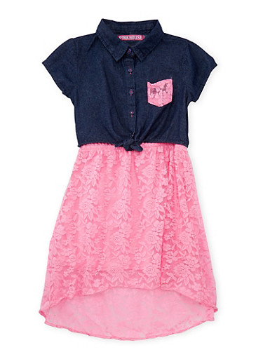 Girls 7-16 Denim and Pink Lace High Low Dress,PINK,large