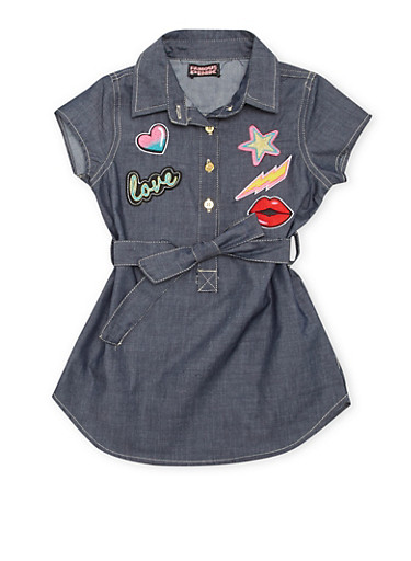 Girls 7-14 Short Sleeve Belted Chambray Dress with Patches,MULTI COLOR,large