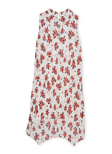 Girls 7-16 Sleeveless Floral Dress with Necklace,PINK,large
