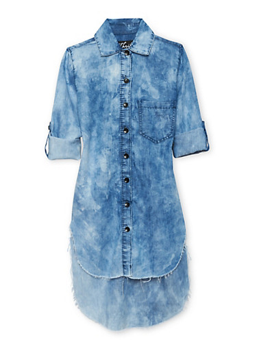Girls 7-16 Floral Applique Cloud Wash Denim Shirt Dress,DENIM,large