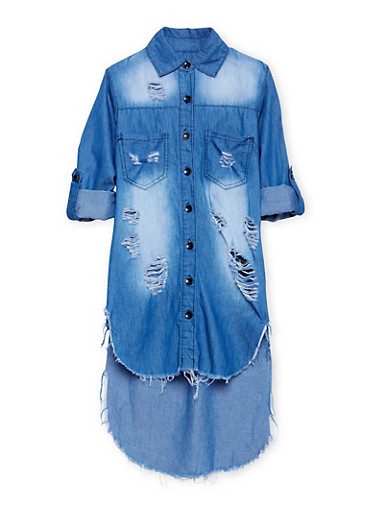 Girls 7-16 Distressed Denim High Low Shirt Dress,DENIM,large
