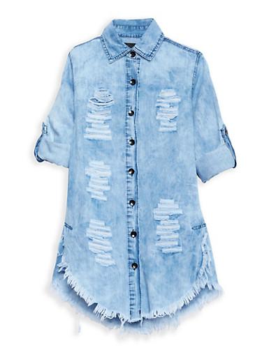 Girls 7-16 Distressed Denim Dress,LIGHT WASH,large