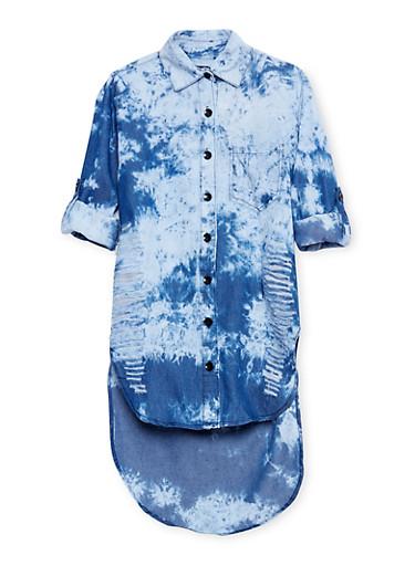 Girls 7-16 Slashed Button Front Denim Dress,DARK WASH,large