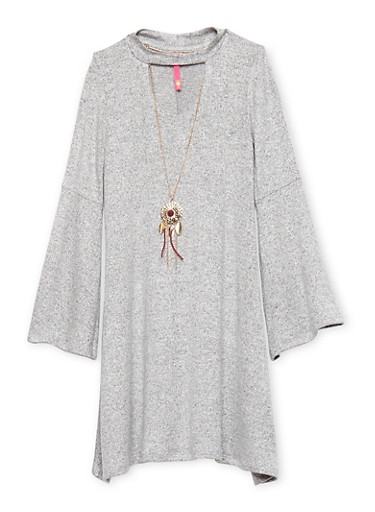 Girls 7-16 Marled Bell Sleeve Dress with Necklace,HEATHER,large