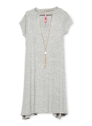 Girls 7-16 Keyhole Neck Dress with Necklace,HEATHER,large