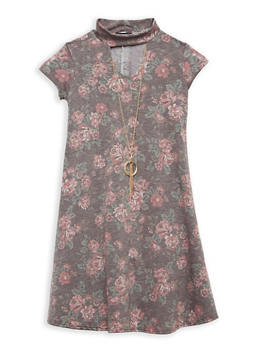 Girls 7-16 Rose Print Dress with Necklace,ROSE,large
