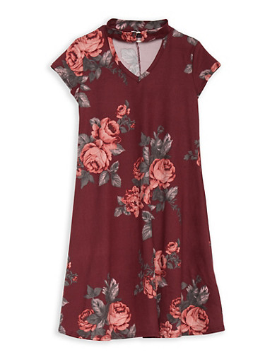 Girls 7-16 Rose Print Dress with Metallic Detail,ROSE,large