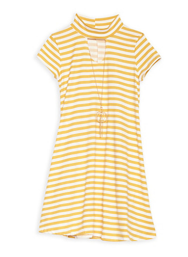 Girls 7-16 Mustard Striped Dress with Necklace,MUSTARD,large