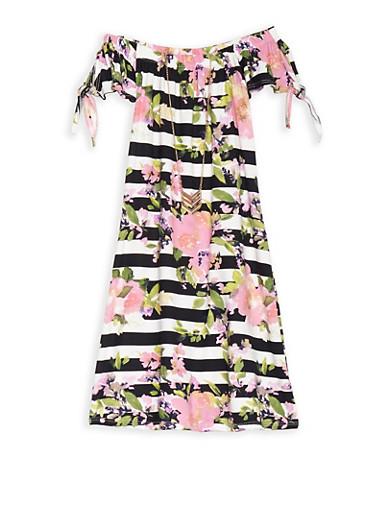 Girls 7-16 Floral Stripe Off the Shoulder Dress with Necklace,BLACK/PINK,large
