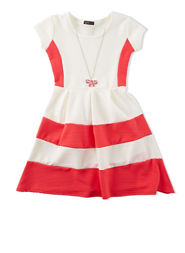 Girls 7-16 Color Block Skater Dress with Necklace,CORAL,large