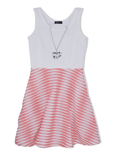 Girls 7-16 Skater Dress with Abstract Pattern Skirt and Heart Necklace,SALMON/IVORY,large