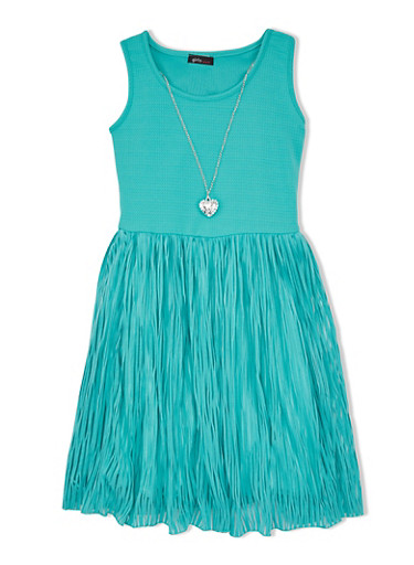 Girls 7-16 Dress with Textured Shadow Stripe Skirt and Heart Necklace,GREEN,large