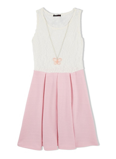 Girls 7-16 Lace and Solid Pleated Skater Dress with Butterfly Necklace,BLUSH,large