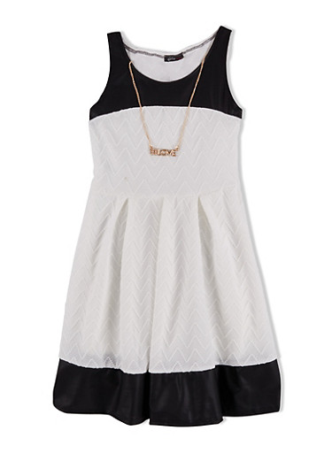 Girls 7-16 Pleated Skater Dress with Faux Leather Trim and Necklace,IVORY,large