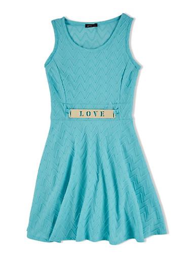 Girls 7-16 Knit Skater Dress with Laser Cut Faux Belt,MINT,large